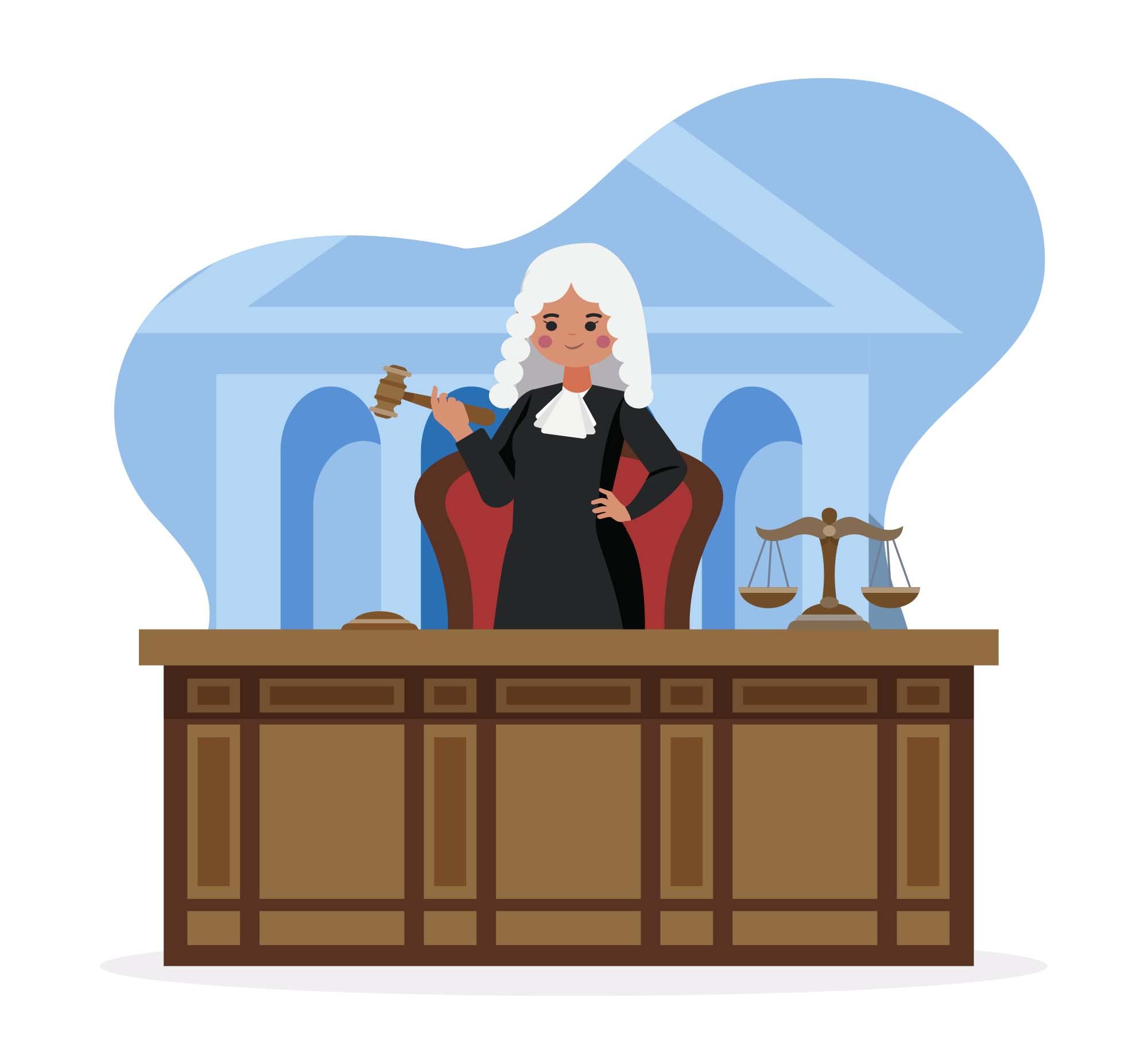 Female Judge Vector Illustration