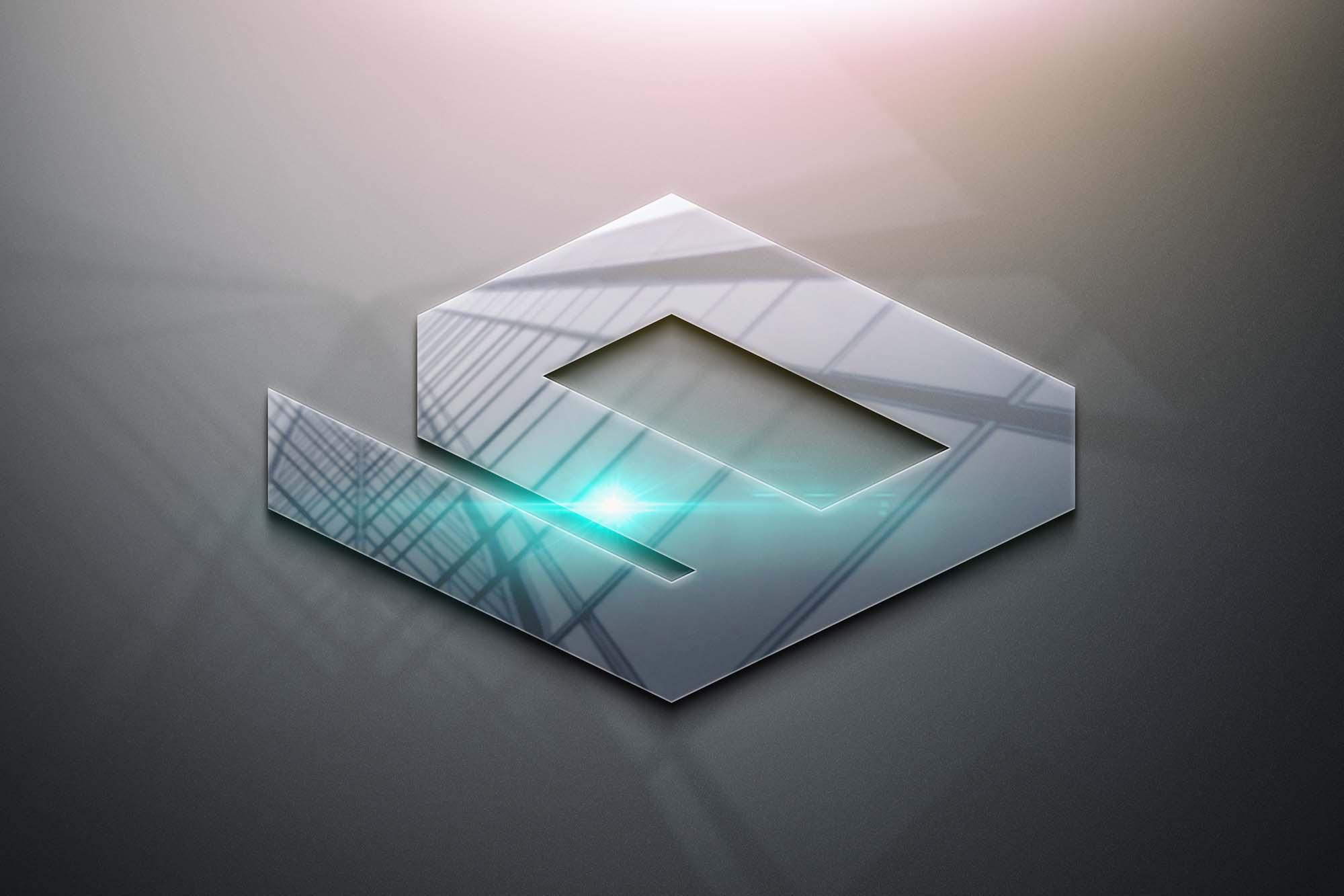 Glossy 3D Logo Mockup 2