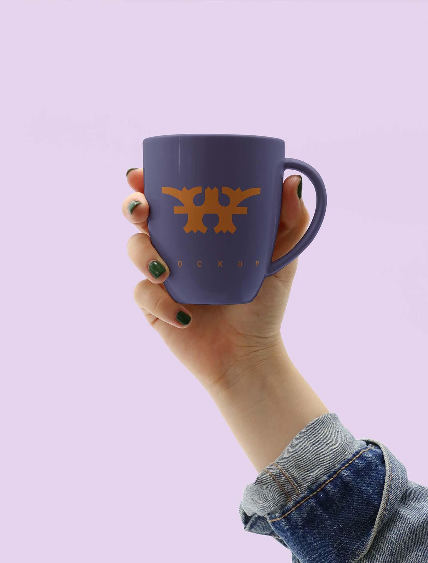 Hand Holding Mug Mockup