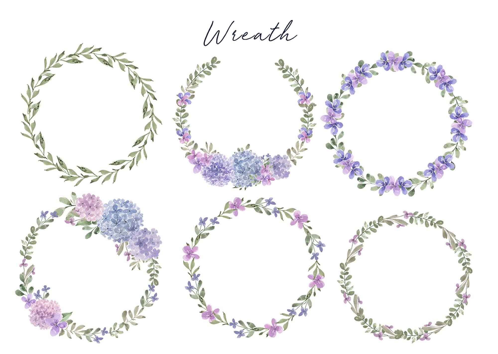 Hydrangea Watercolor Design Elements 3