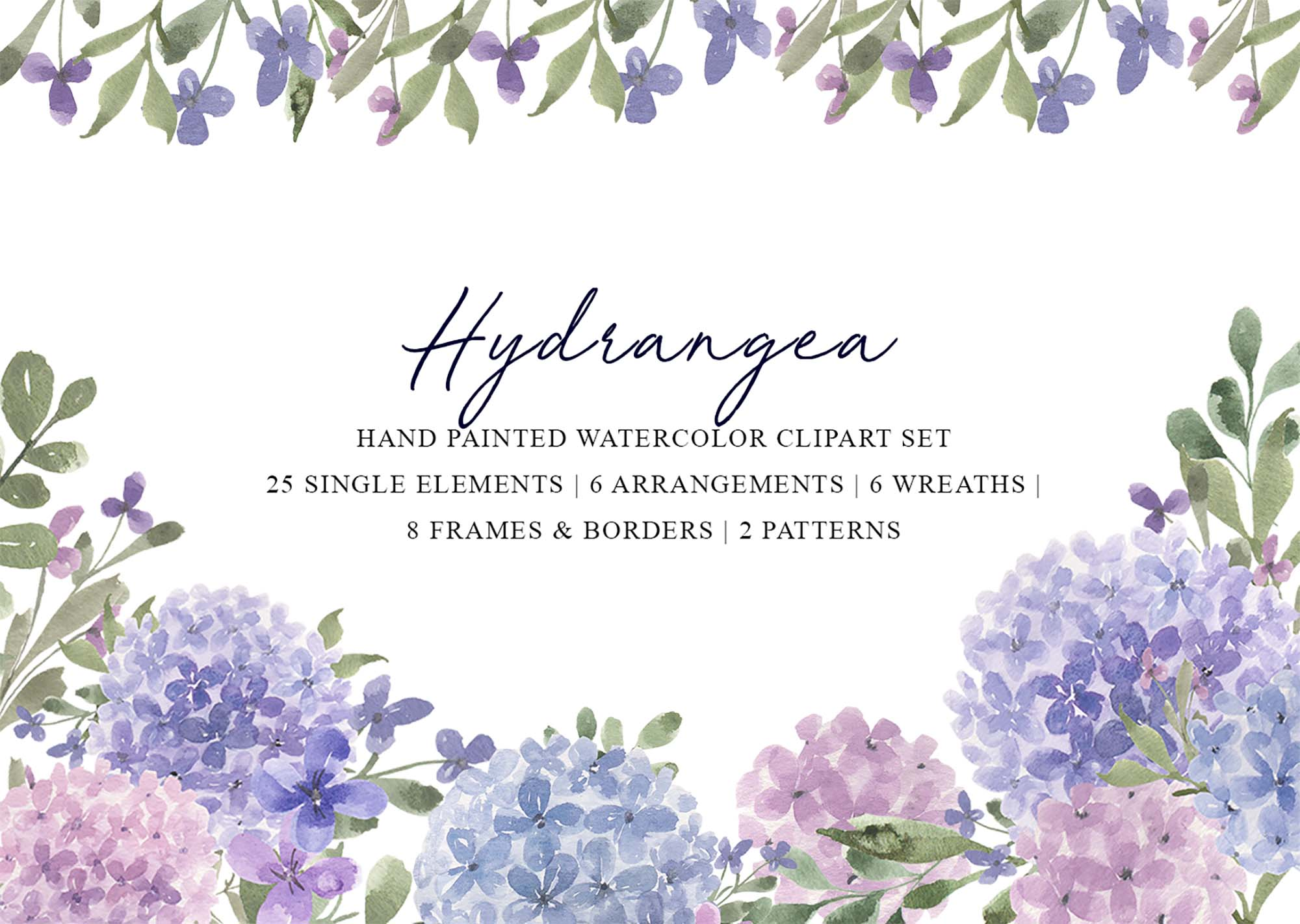 Hydrangea Watercolor Design Elements
