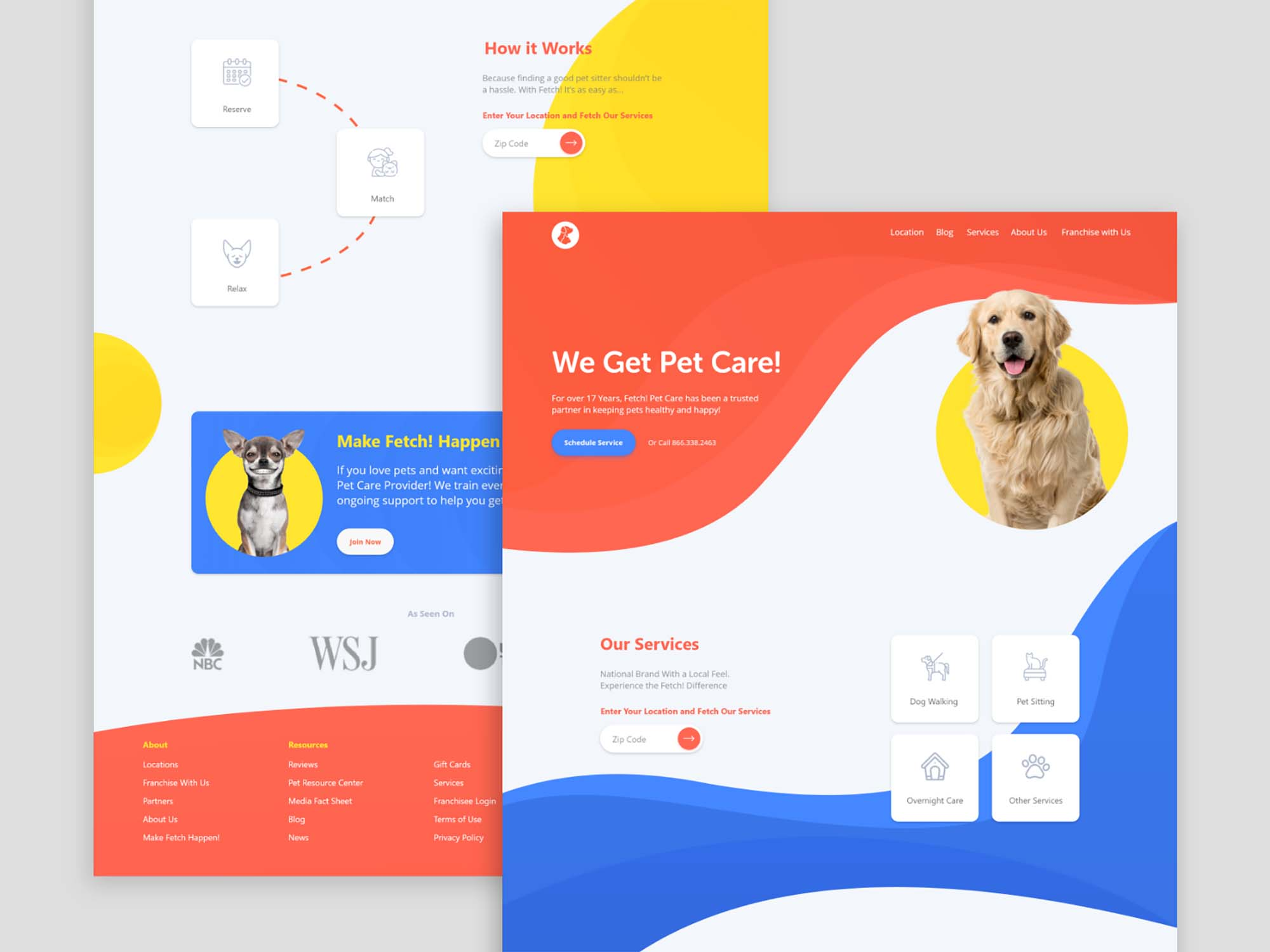 Free Pet Care Landing Page Template Xd
