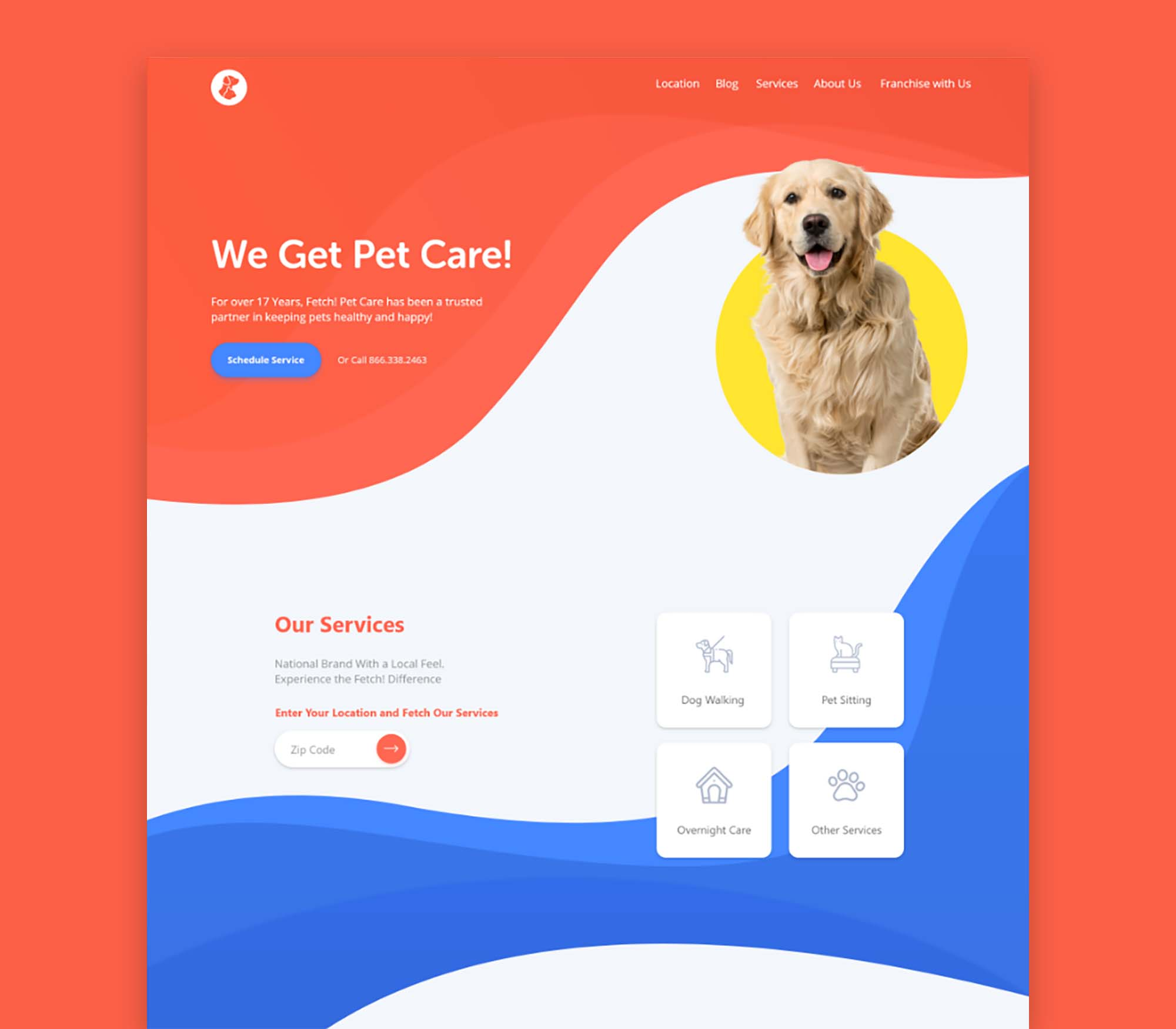 Pet Care Landing Page Template 2