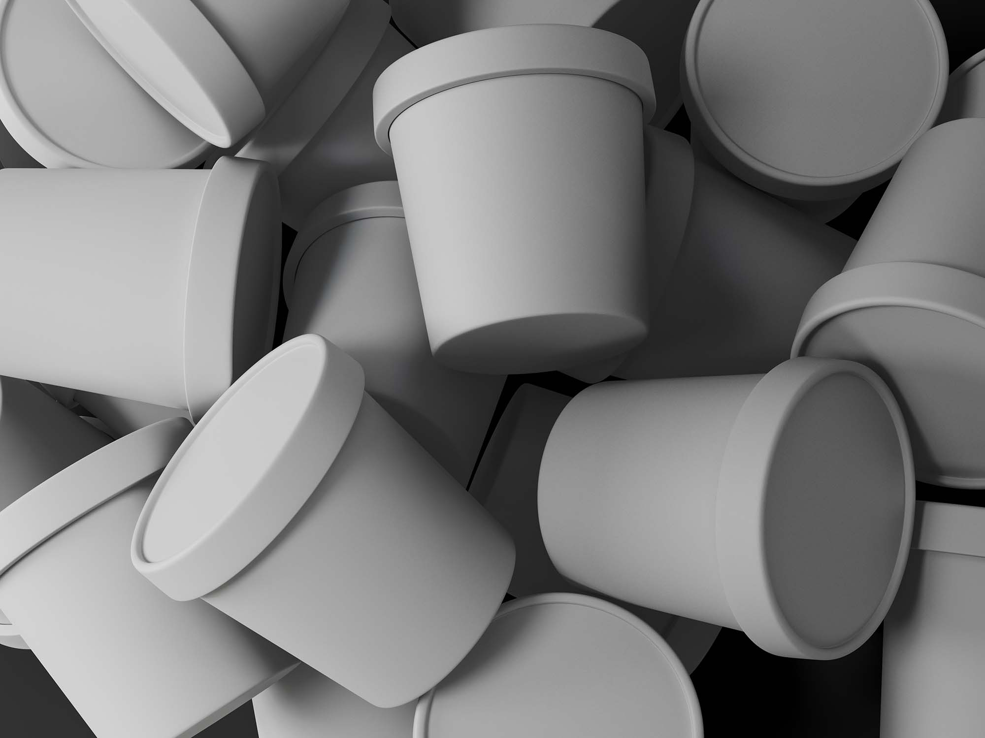 Scattered Ice Cream Cups Mockup 2