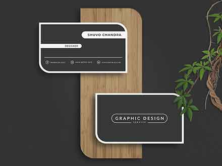 Round Edge Business Card Mockup