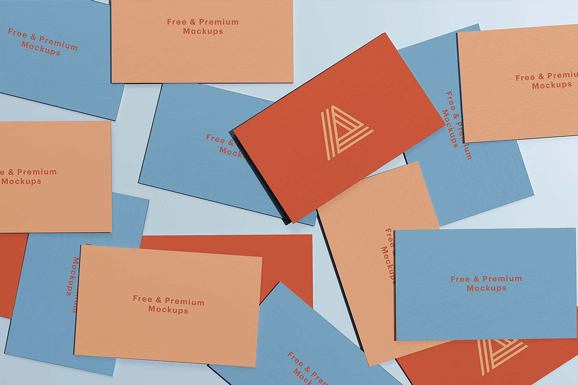 Scattered Business Cards Mockup