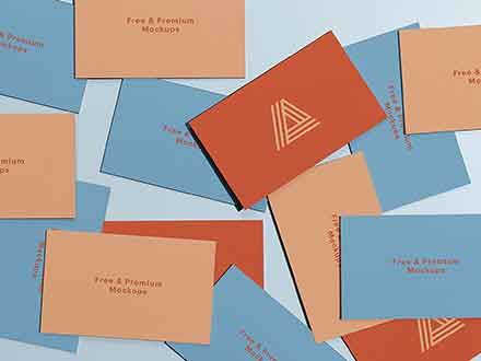 Scattered Business Cards Mockup