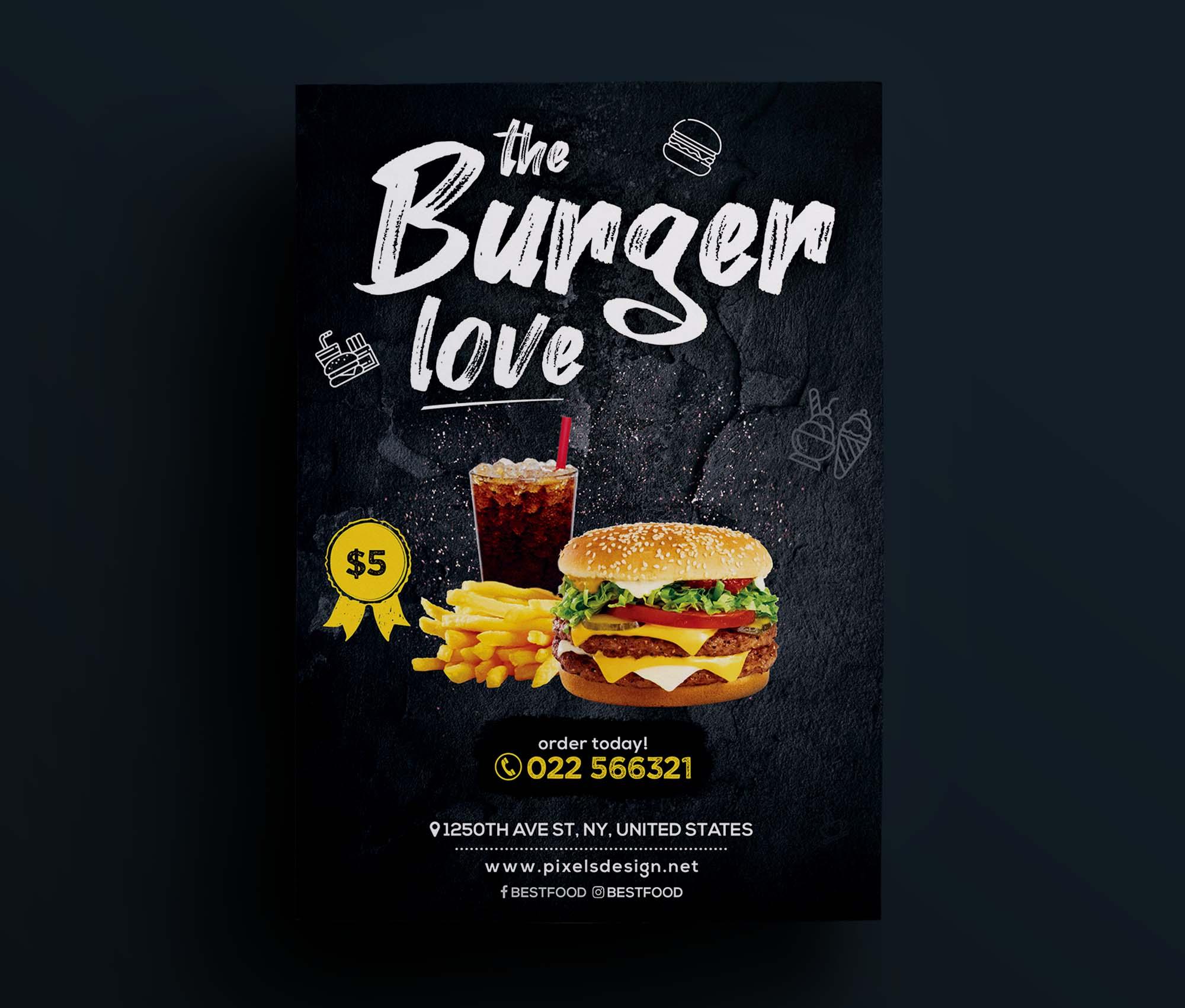 The Burger Love Restaurant Flyer Template