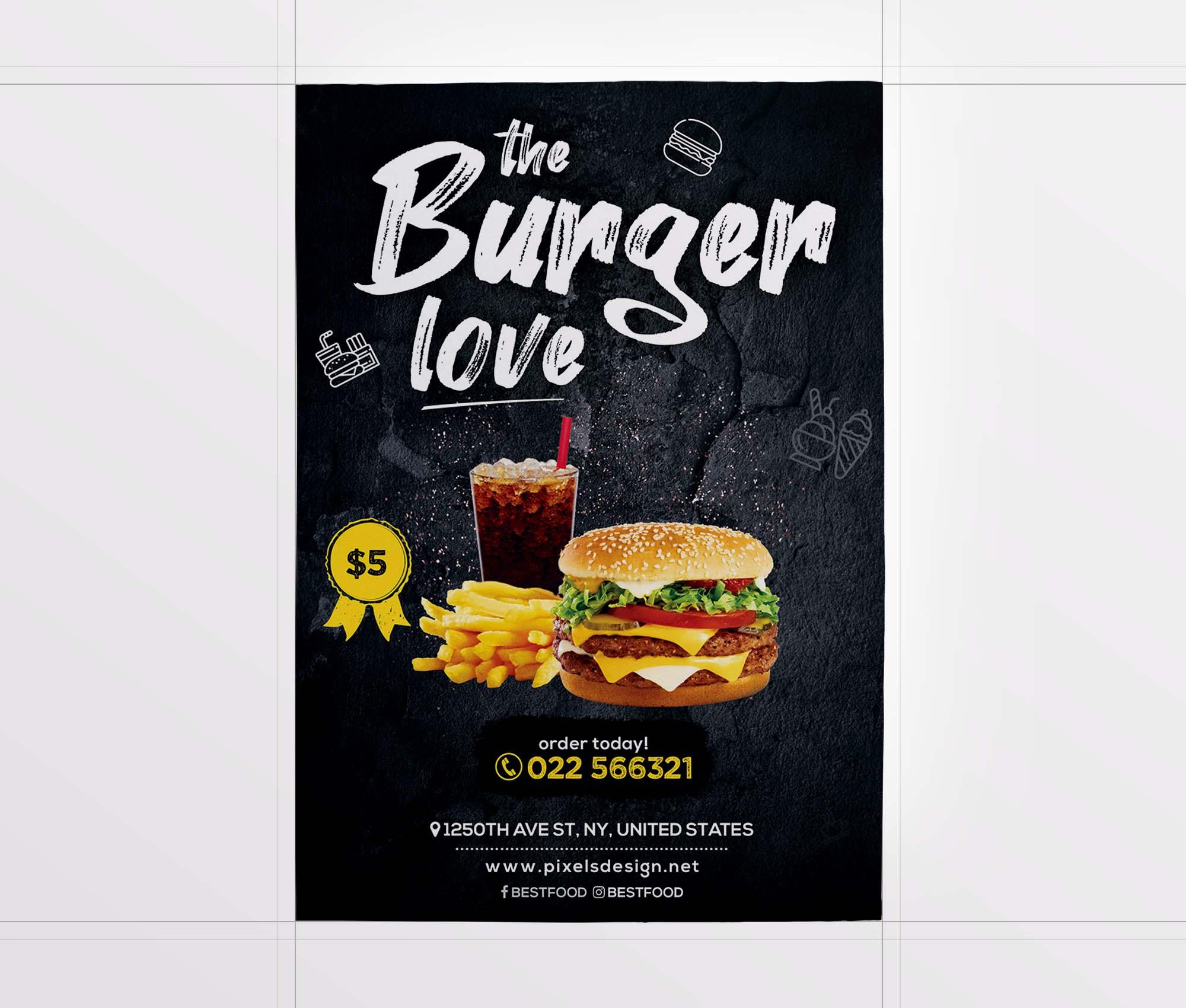 The Burger Love Restaurant Flyer Template 2