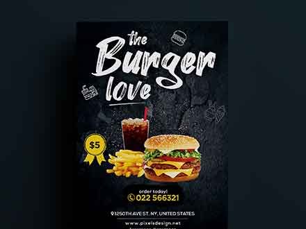 The Burger Love Restaurant Flyer Template