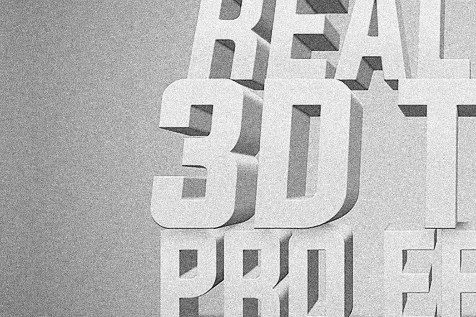 White 3D Text Effect 2