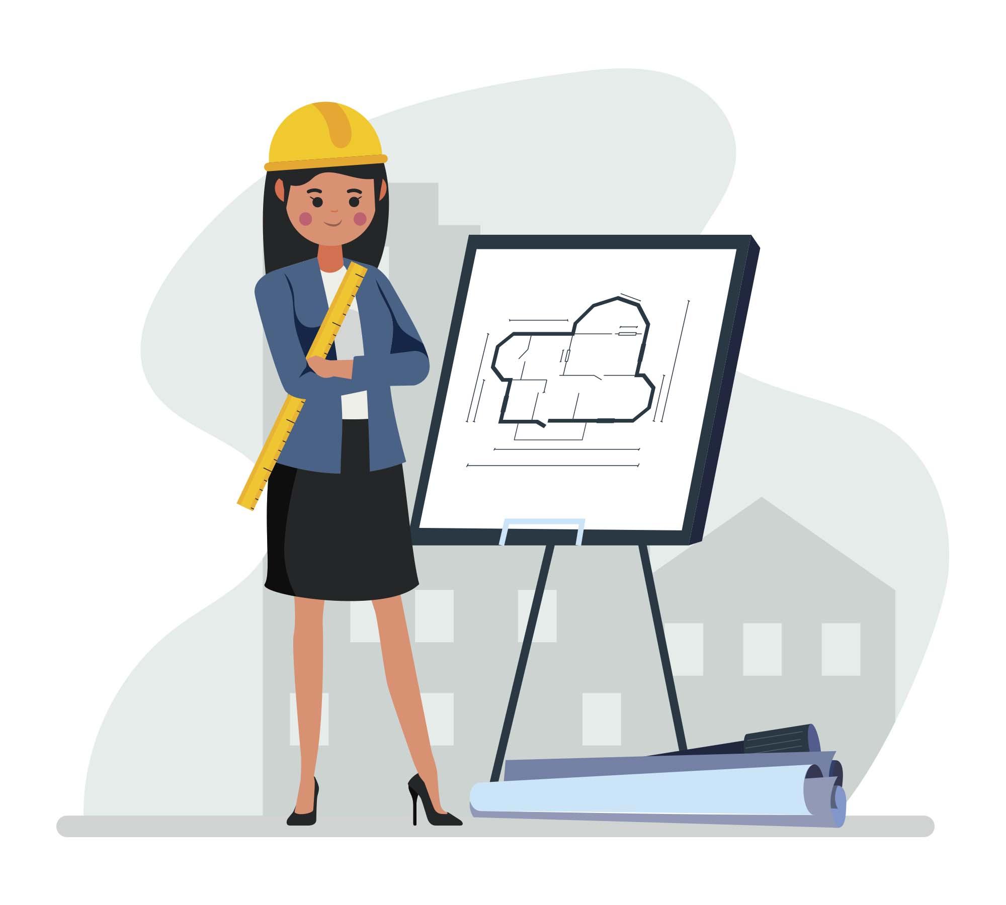 Women Architect Vector Illustration