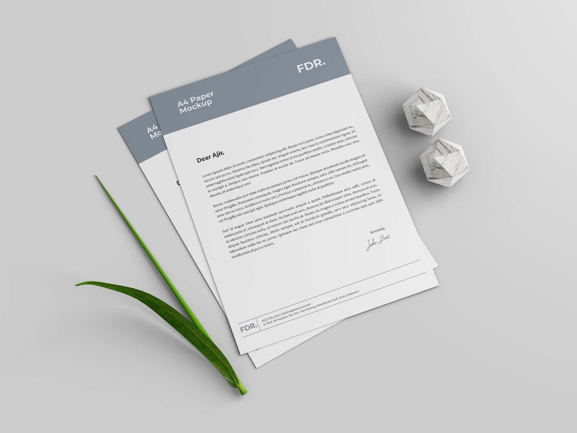 A4 Letterhead and Business Card Mockup 2