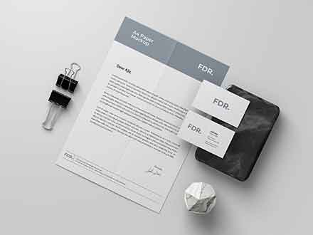 A4 Letterhead and Business Card Mockup