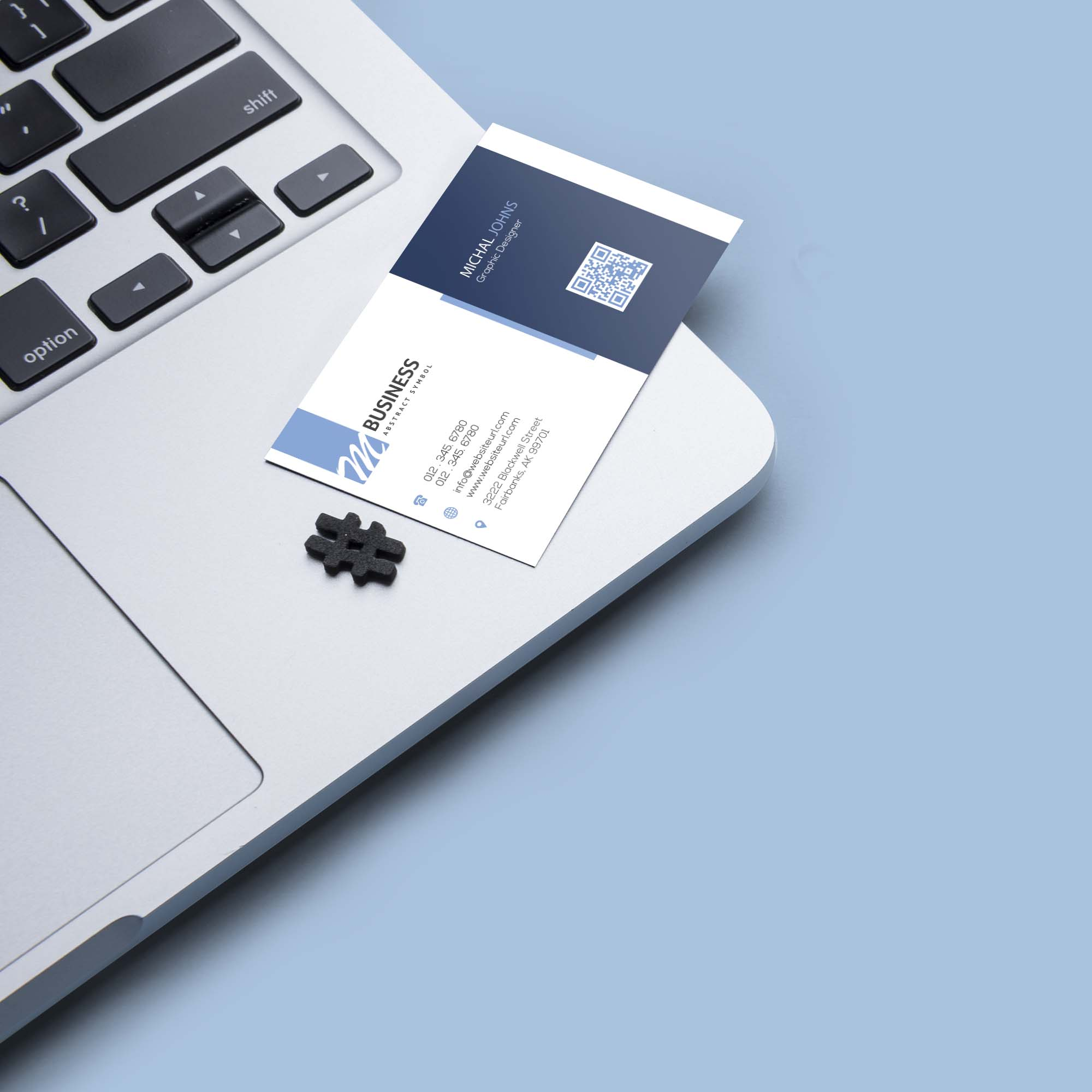Business Card Mockup on MacBook