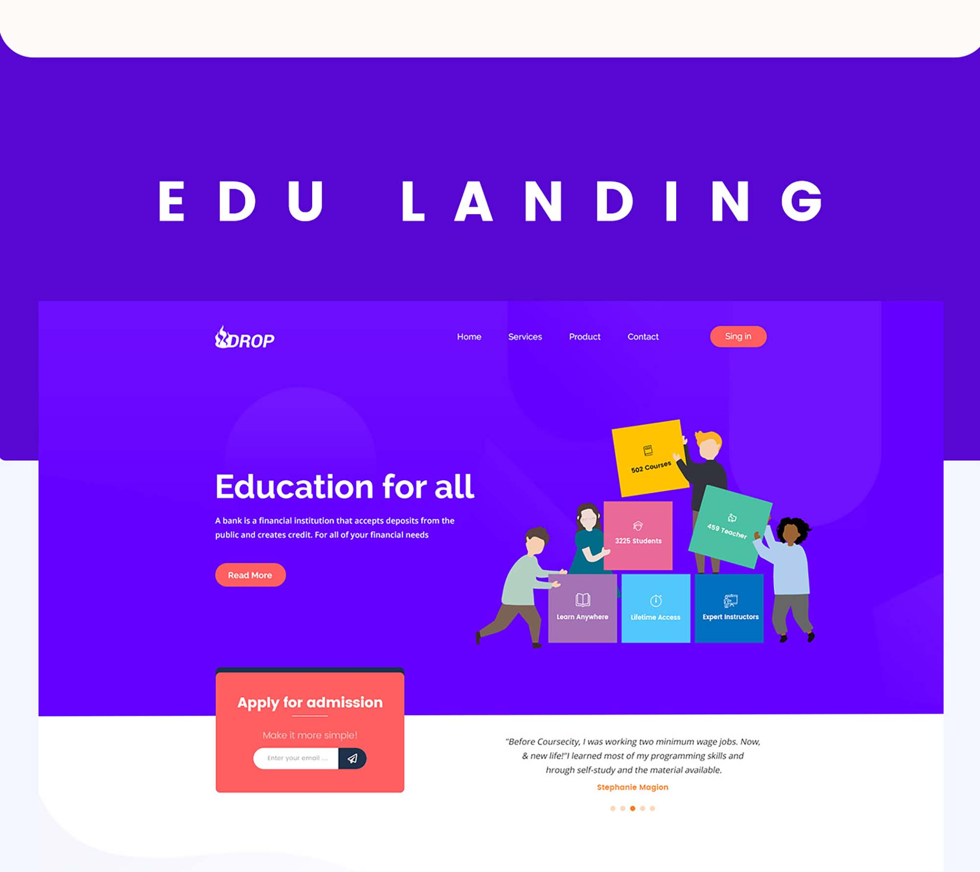 Drop Education Website Template 3