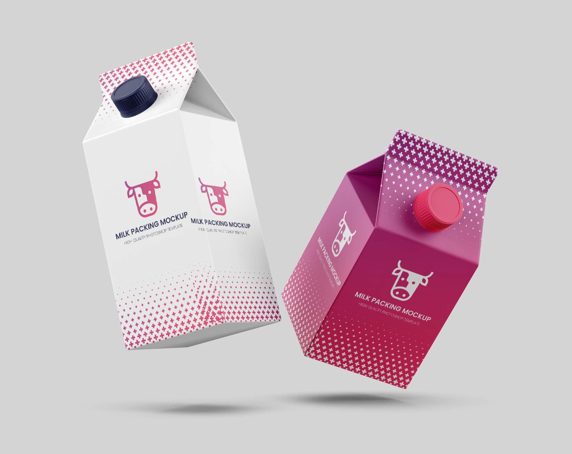 Flying Milk Carton Packing Mockup
