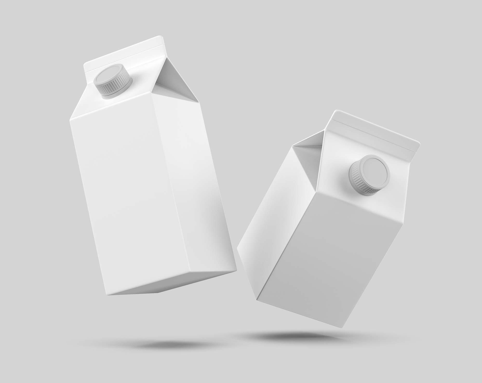 Flying Milk Carton Packing Mockup 2