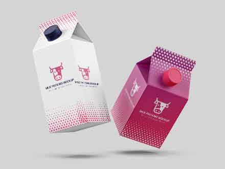 Flying Milk Carton Packing Mockup