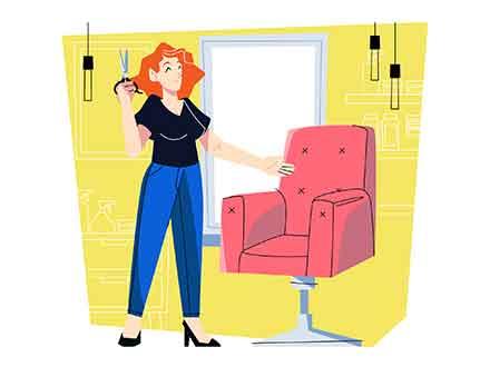 Hairdresser in A Salon Vector Illustrations