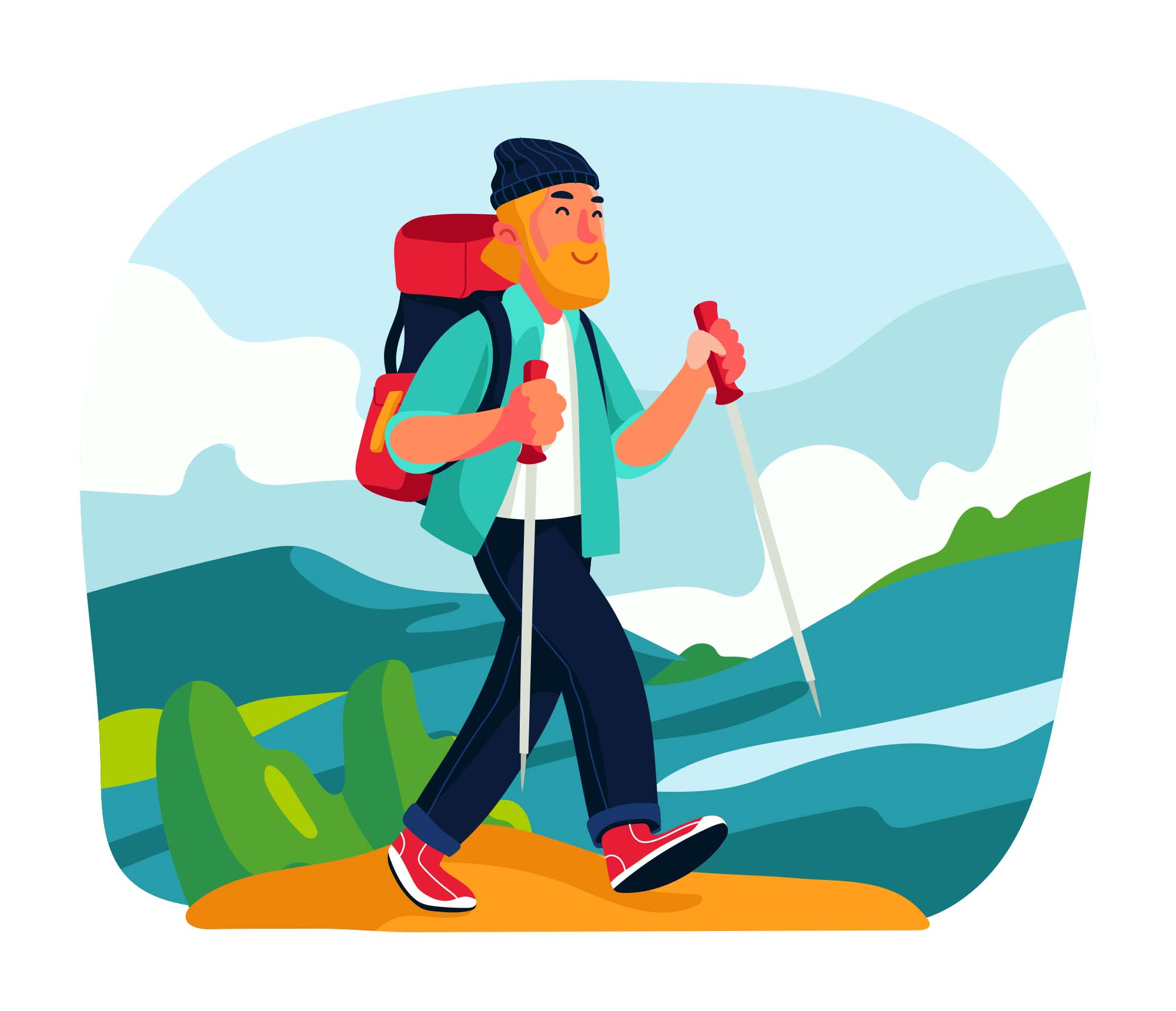 Hiking Vector Illustration