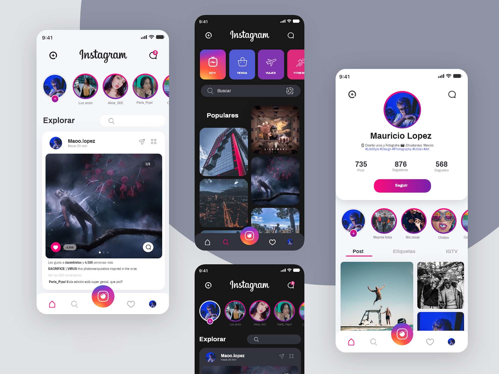 Instagram Redesign UI Template