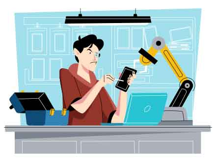 Mobile Fixing Vector Illustration