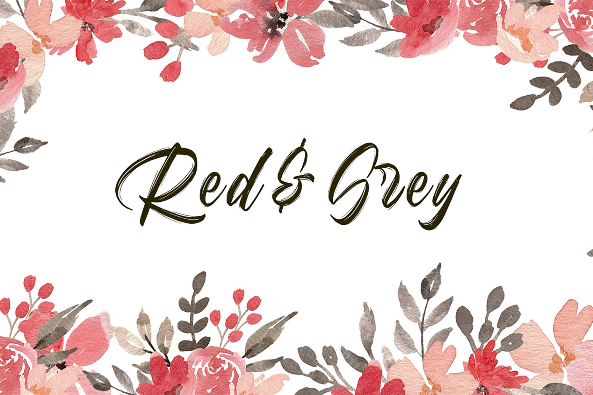 Red & Grey Watercolor Floral Clipart