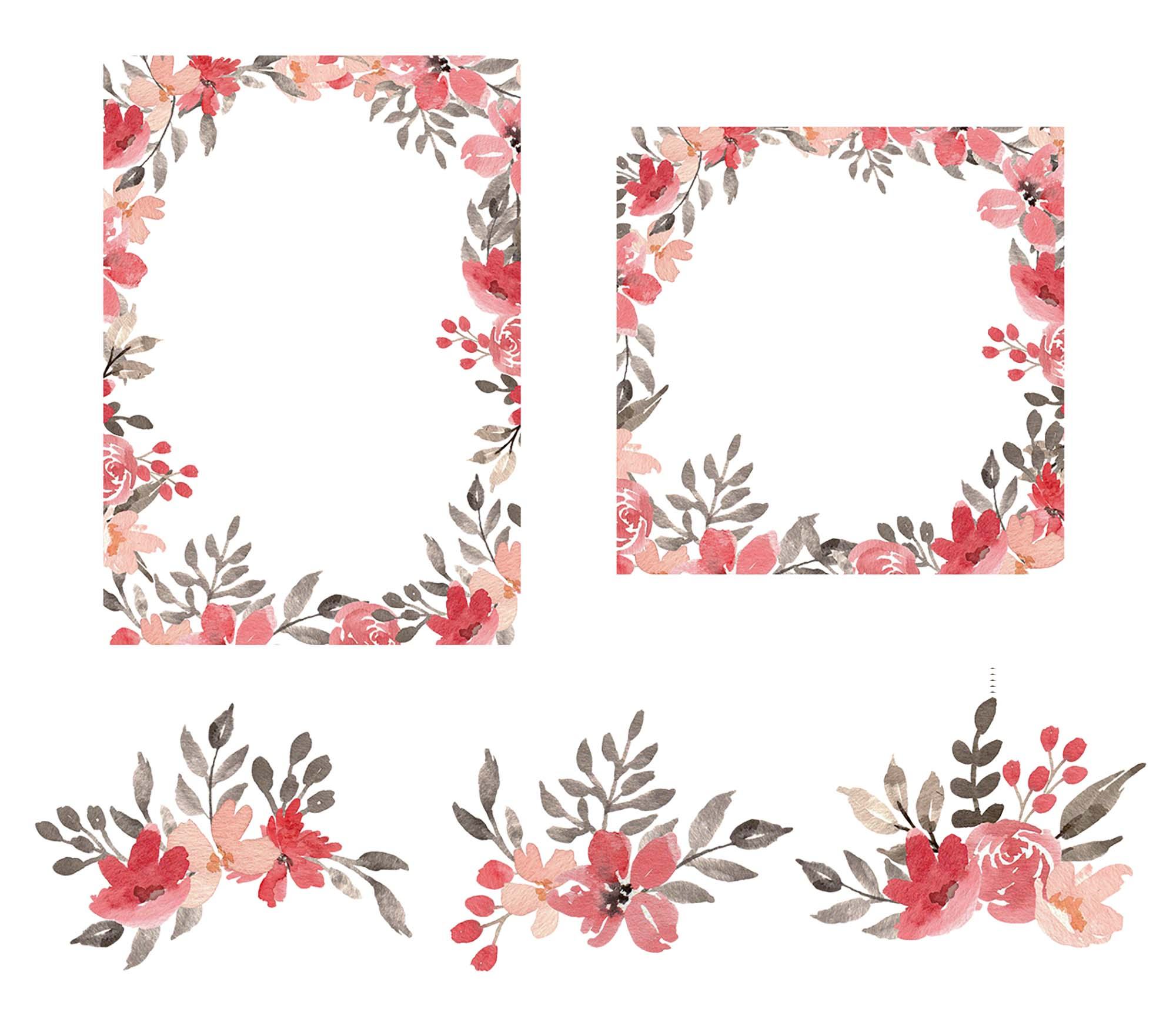 Red & Grey Watercolor Floral Clipart 2