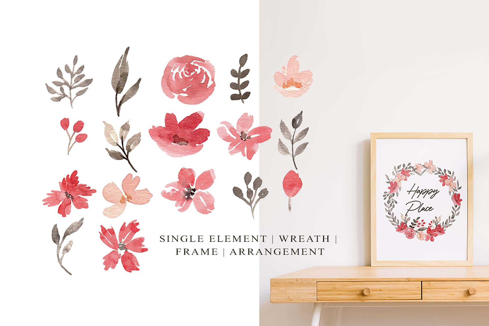 Red & Grey Watercolor Floral Clipart 4