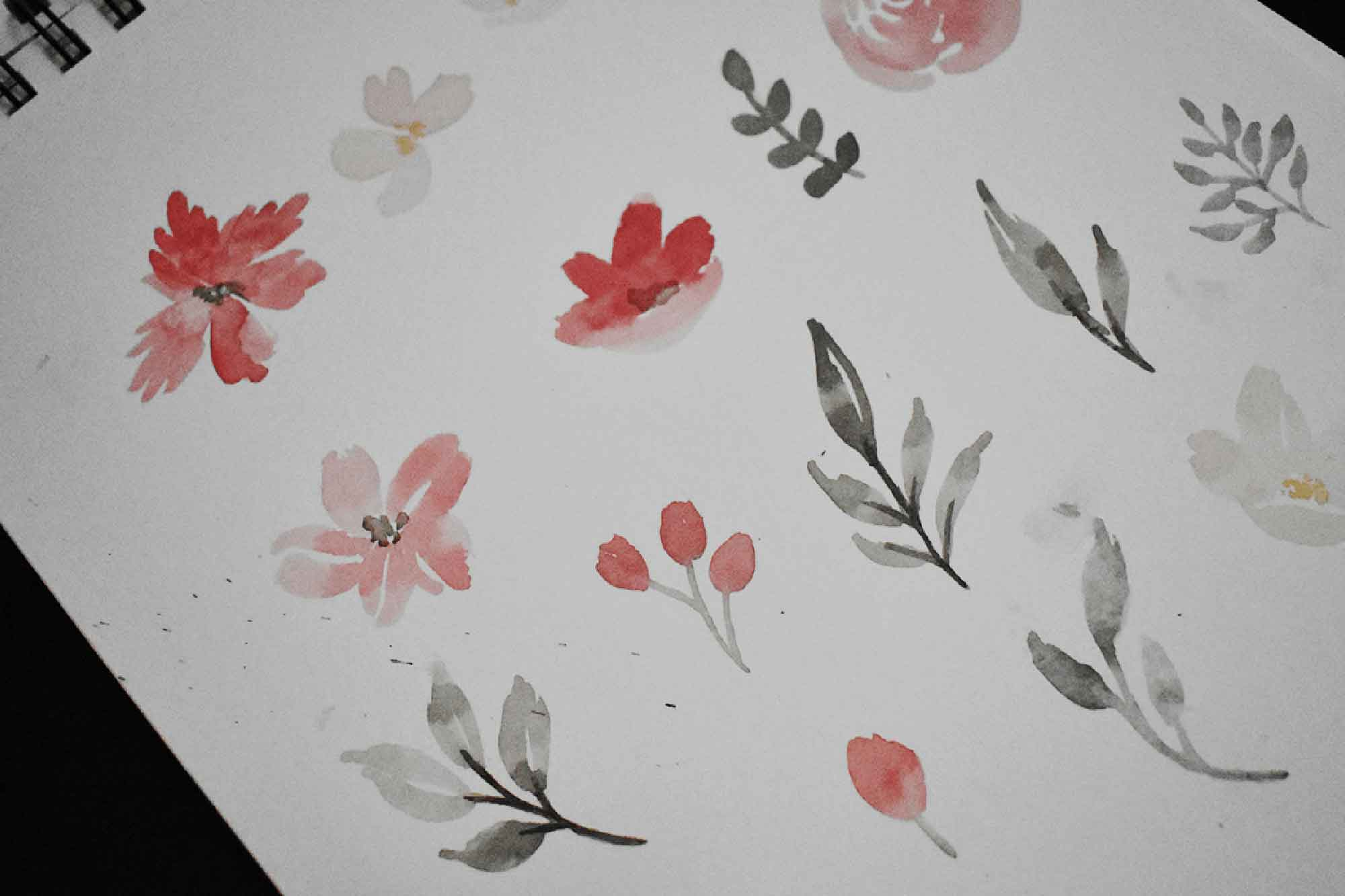 Red & Grey Watercolor Floral Clipart - Sketch