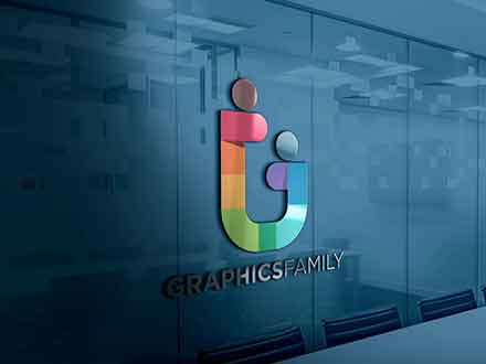3D Glass Window Logo Mockup