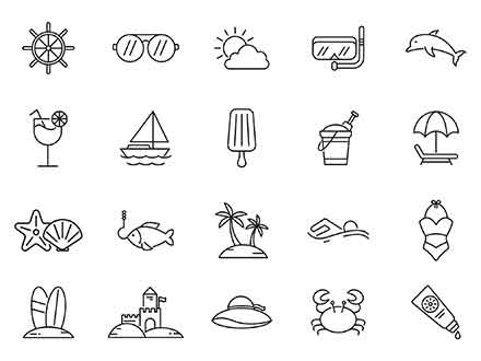 Beach Vector Icons