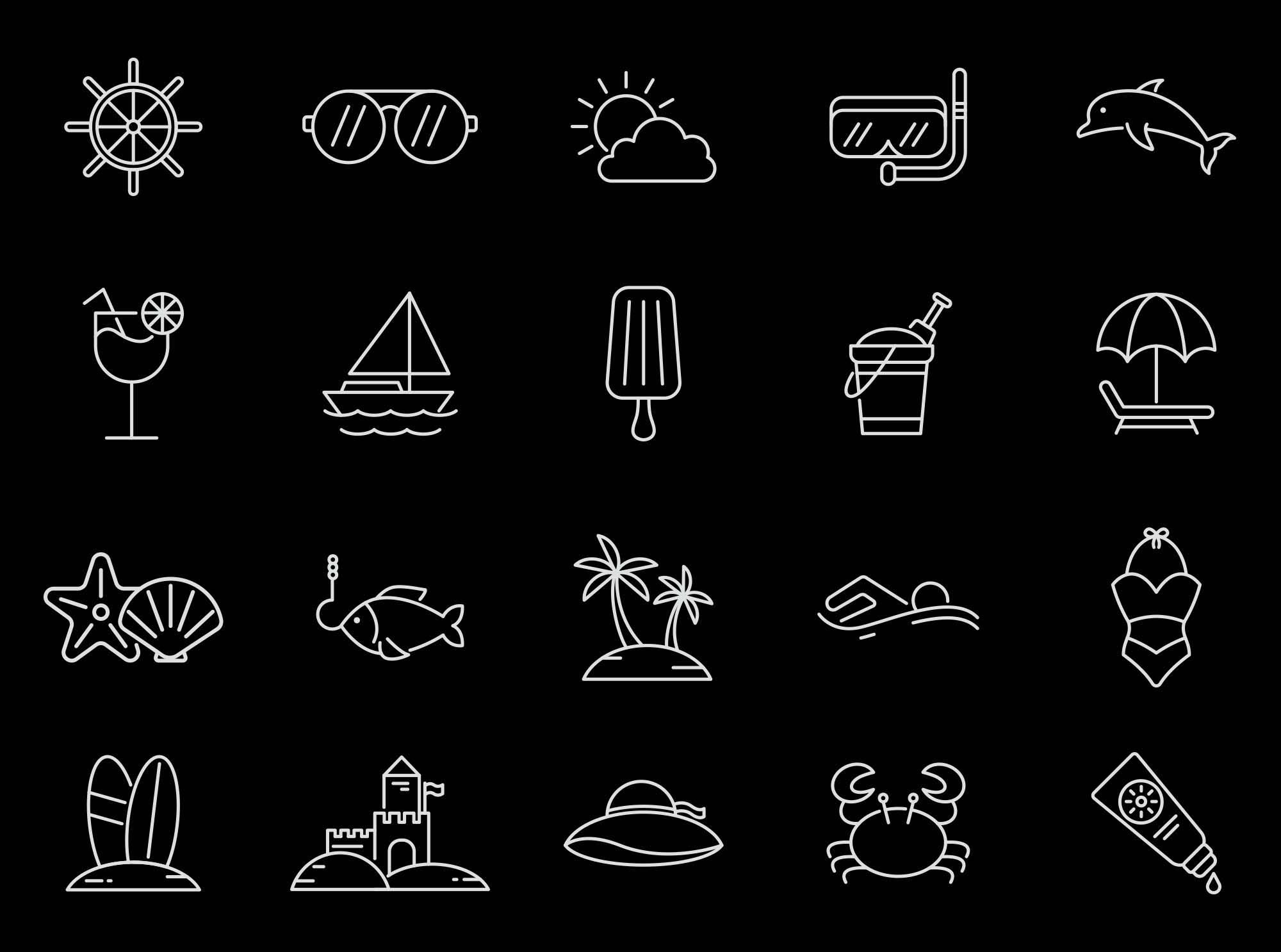 Beach Vector Icons 2