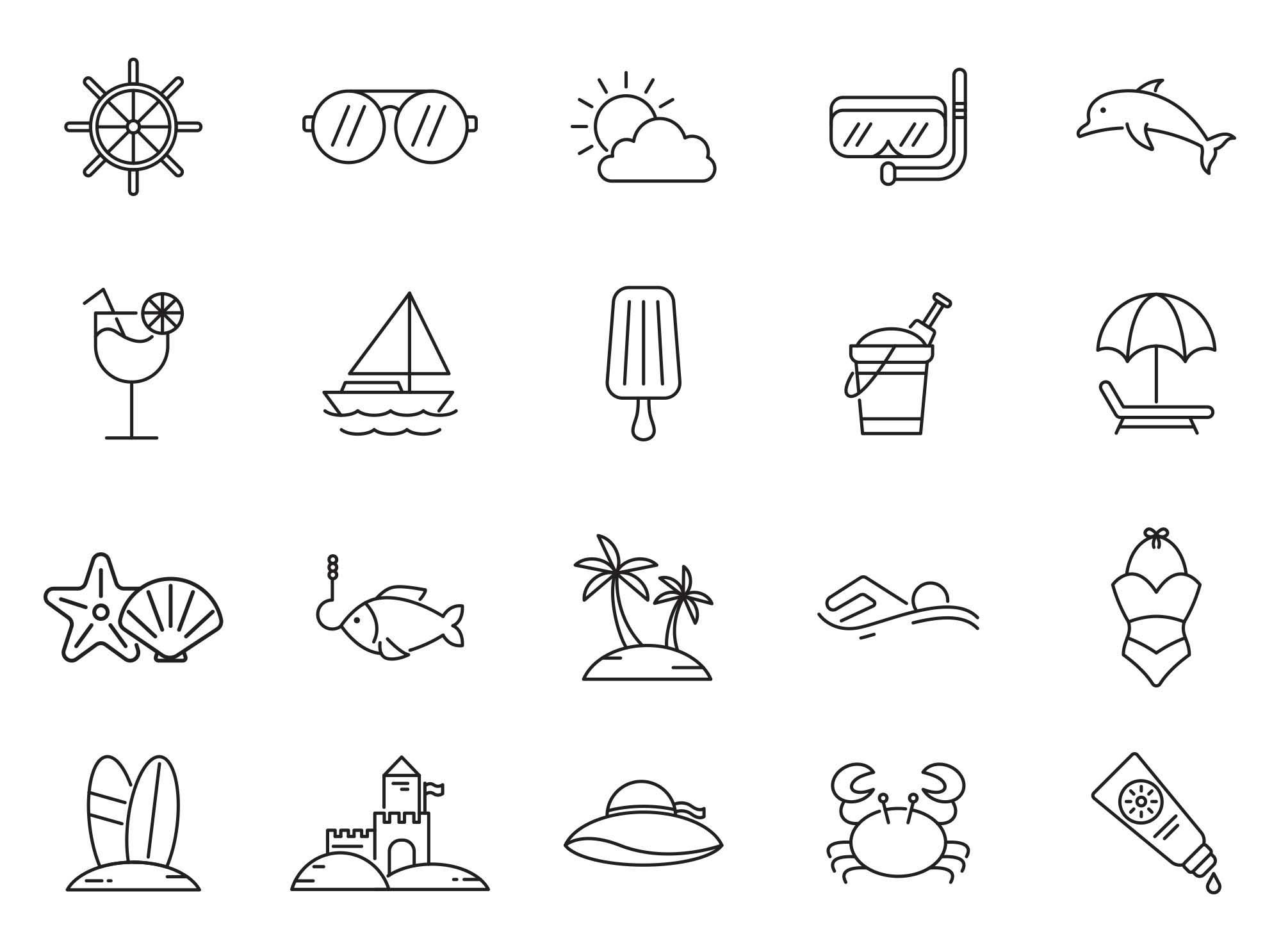 Beach Vector Icons