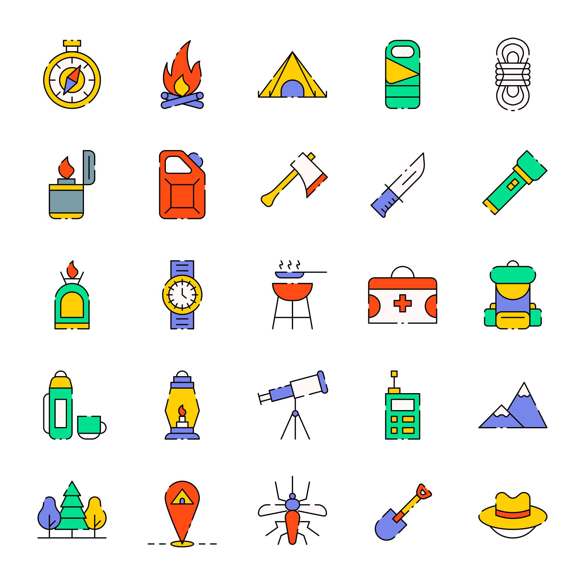 Colored Camping Vector Icons