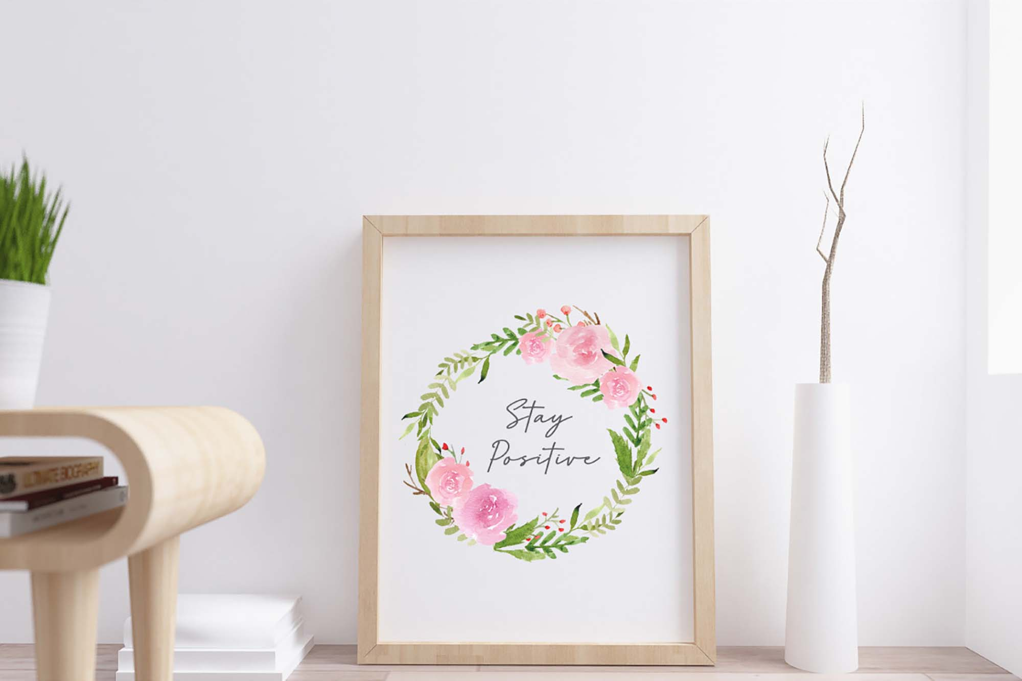 Pink Blush Watercolor Floral Graphics 3