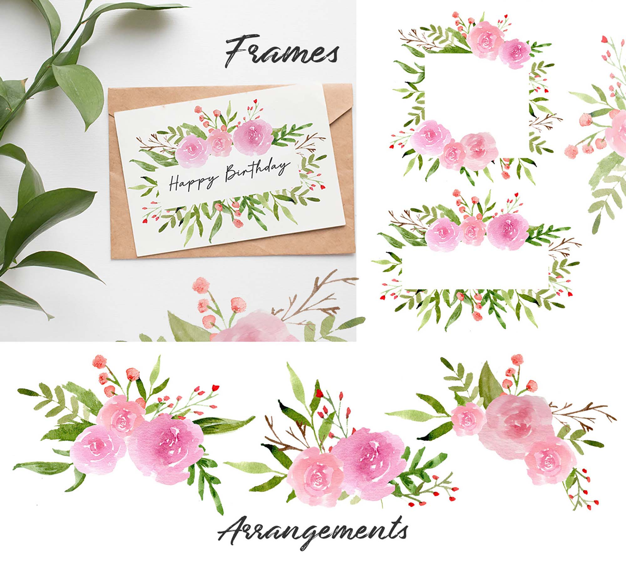 Pink Blush Watercolor Floral Graphics 4