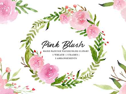Pink Blush Watercolor Floral Graphics