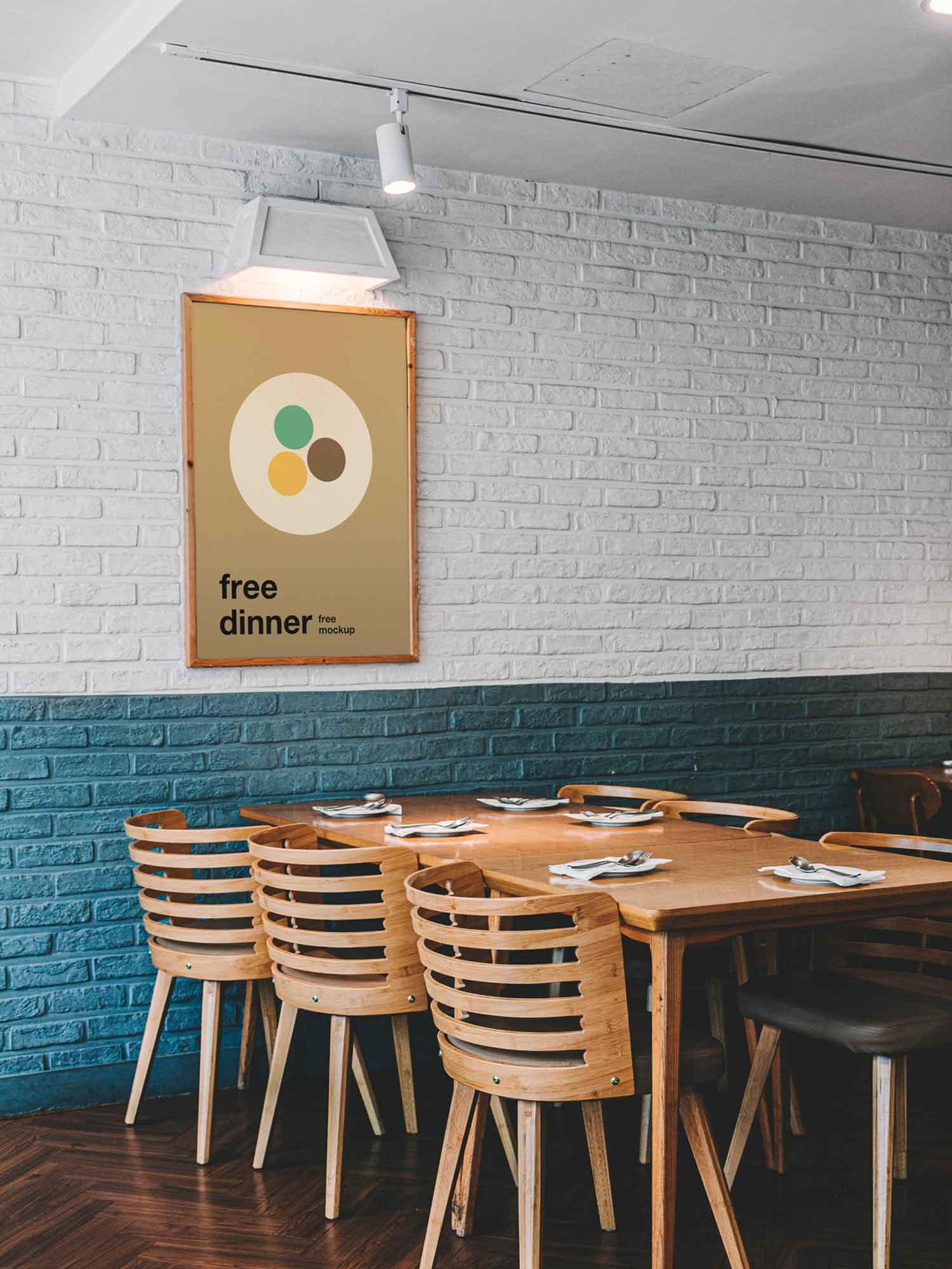 Poster in Restaurant Mockup