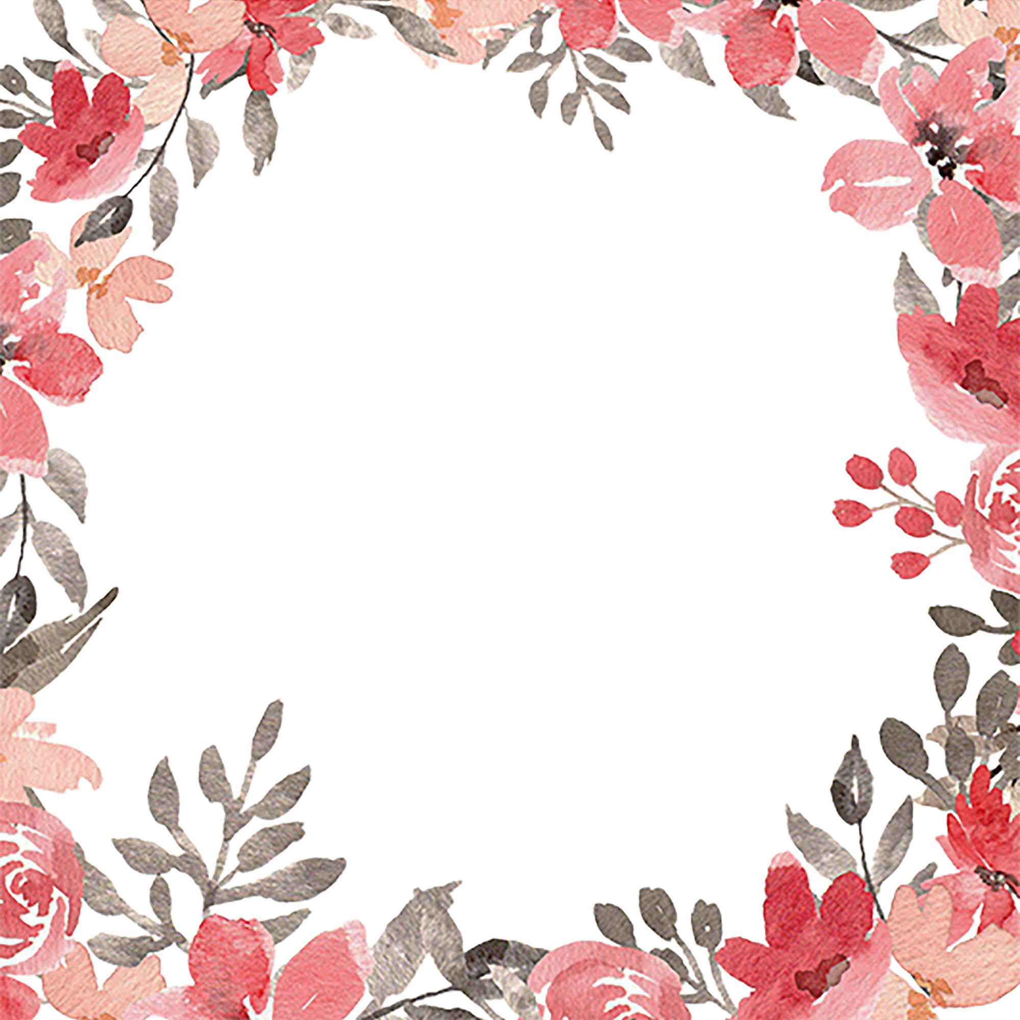 Red & Grey Flowers Watercolor Clipart 2