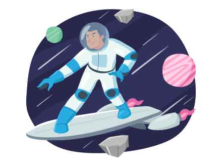 Space Surfer Vector Illustration