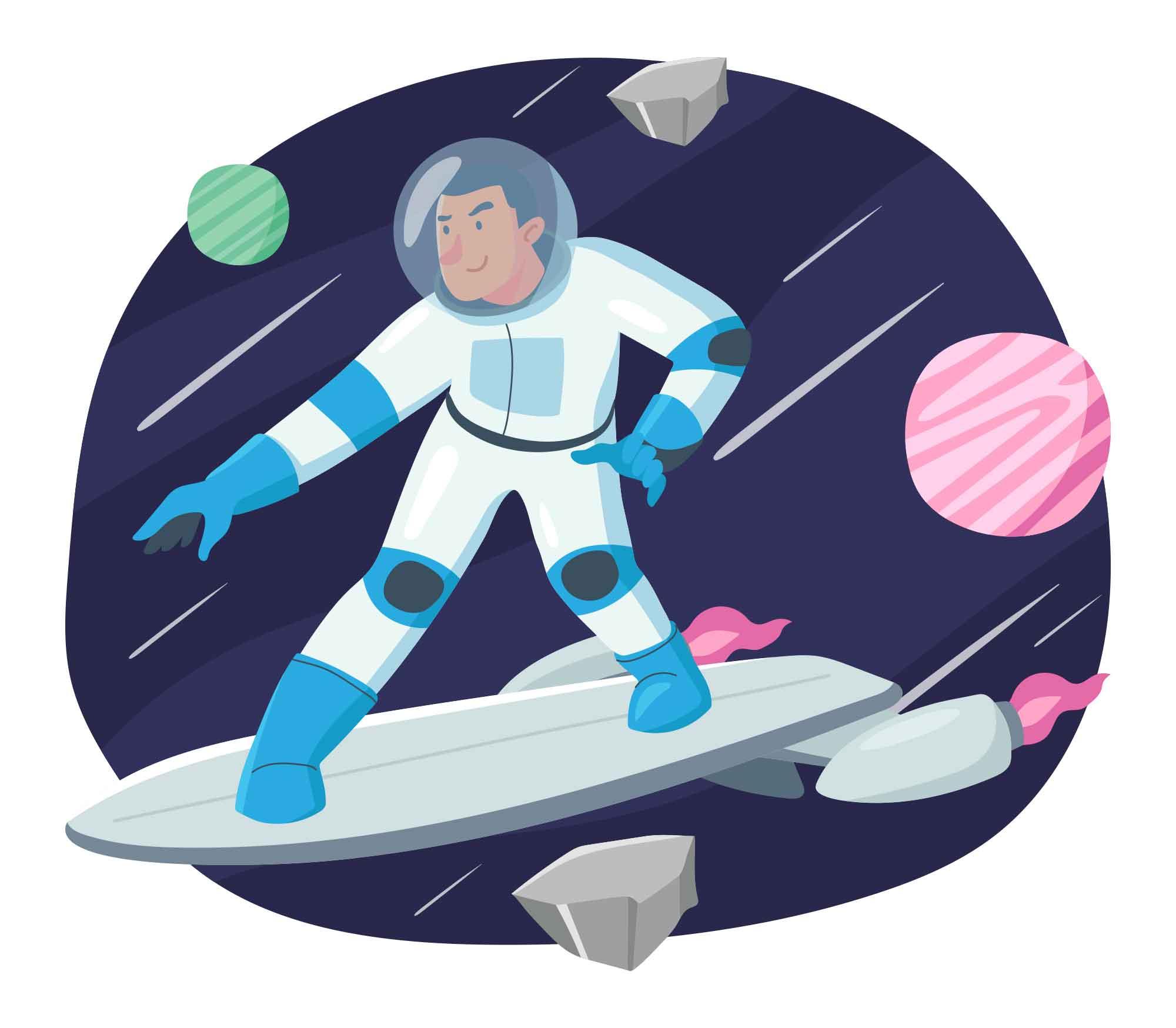 Space Surfer Vector Illustration