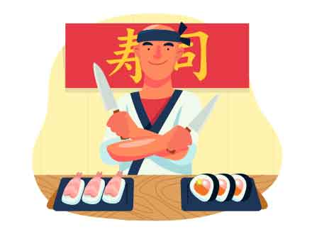 Sushi Chef Vector Illustration