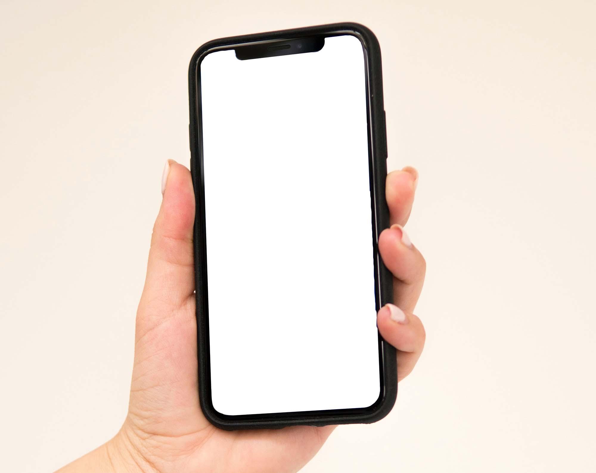 iPhone Held in Hand Mockup 2