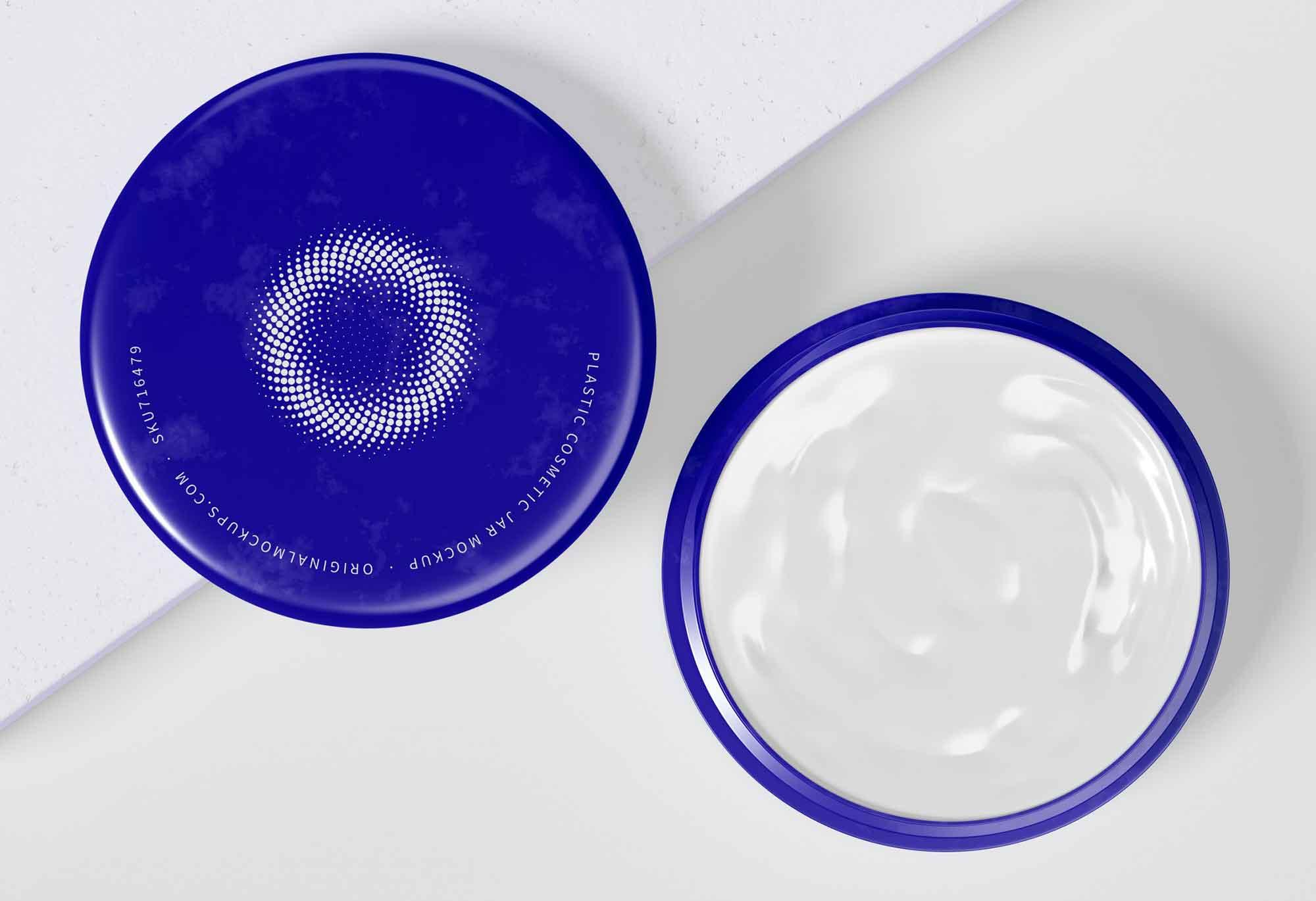 Opened Plastic Cosmetic Jar Mockup