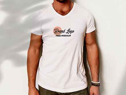 V Neck T-Shirt Mockup