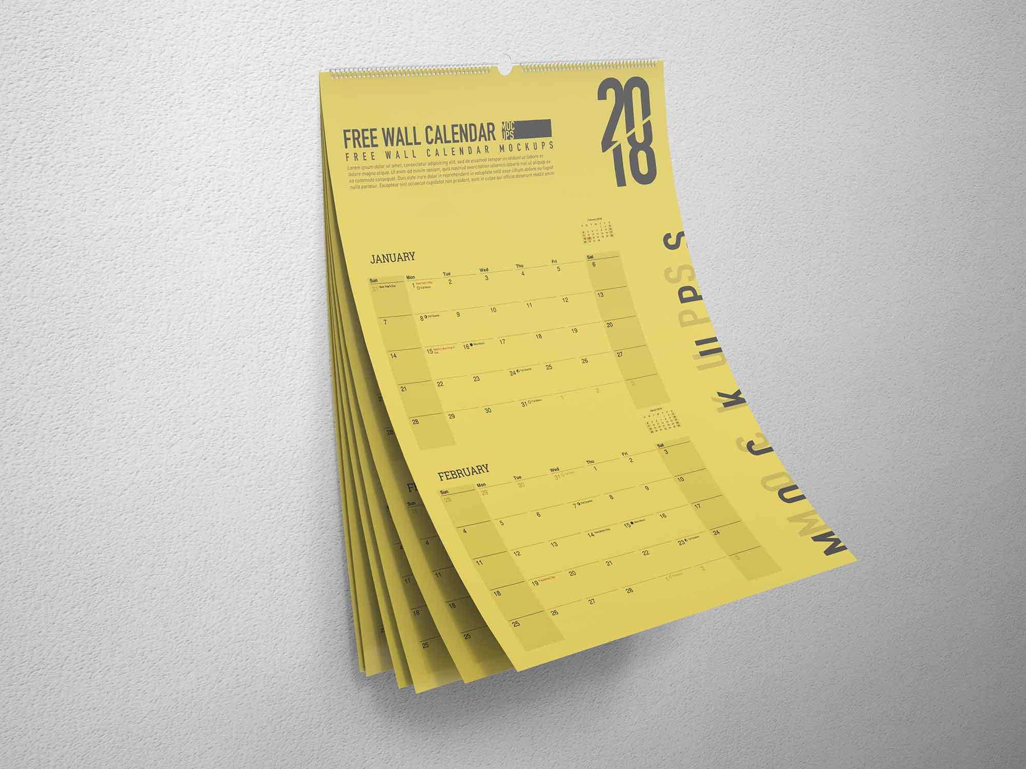 A3 Wall Calendar Mockup