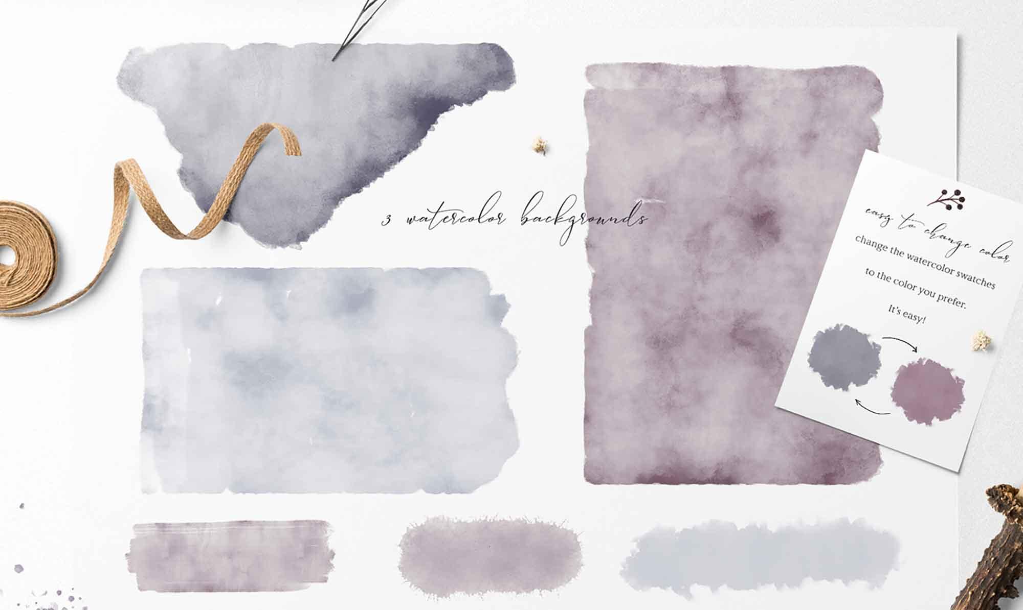 Folklore Watercolor Design Elements 2