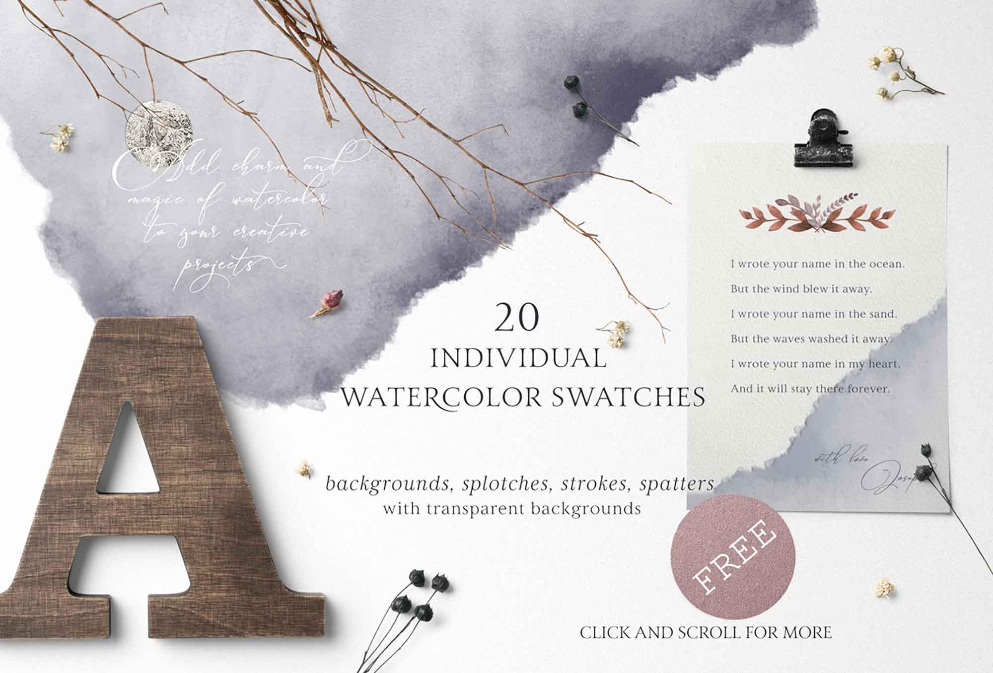 Folklore Watercolor Design Elements